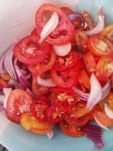 Aready sliced onions,tomtoes and pepper
