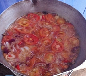 Tomatoes in a frying process