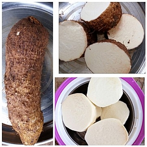 Picture of a whole yam, diced and peeled