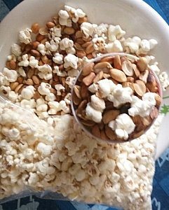 groundnuts served with popcorns