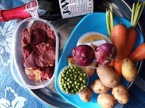 Ingredients for preparing beef stew