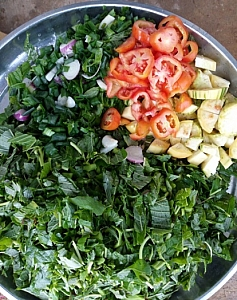 Choped vegetables in a tray