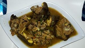 Enjoy your goat meat pepper soup with boiled plantain or rice.