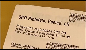 Well labelled Platelets for Blood transfusion showing the type of anticoagulant used (Citrate, Dextrose, and Phosphate), the storage temperature and the expiry date