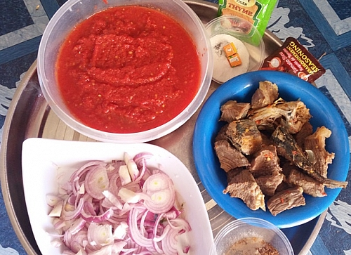 Photo of some ingredients for tomato stew. I used few different spices, beef and fish to help me get rid of sour taste in tomato stew