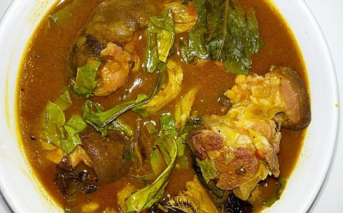 Oha soup is served