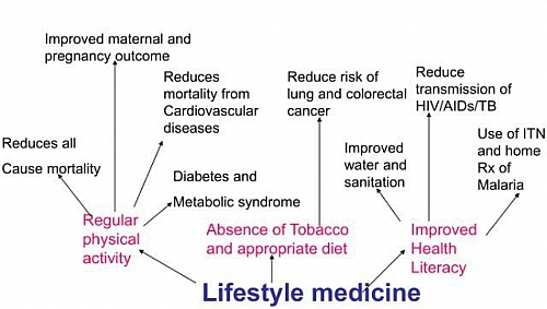 Benefits of Lifestyle Modification by abstinence from taking tobacco, regular physical exercise, and health improvement through Lifestyle Medicine