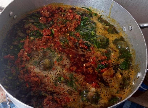 Cooking process of edikaikong soup- water leaf naturally has water in itself, do not add much water to the content, the water will come up as the leaf boils