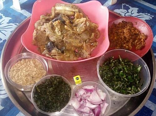 Ingredients for preparing ogbono soup