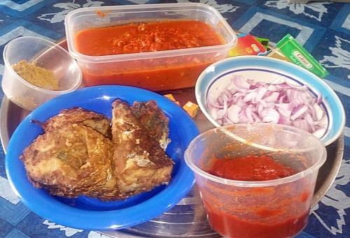 Fish stew ingredients
