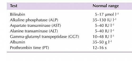 Normal Range Values For Liver Function Blood Test