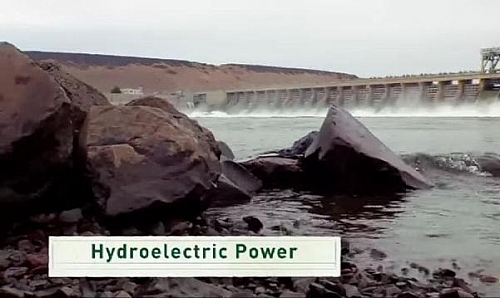 Hydroelectricity a form of renewable energy being generated from a dam
