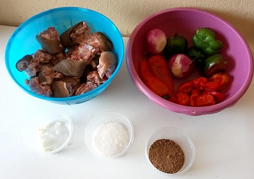 Ingredients for making spicy Asun