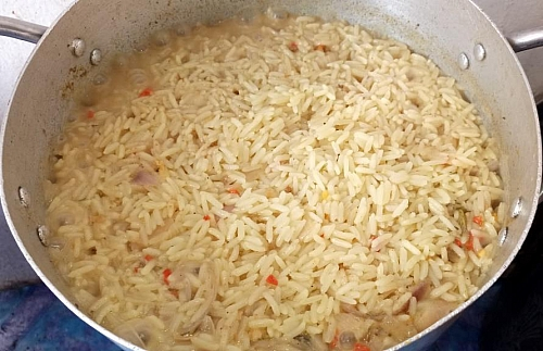 Coconut fried rice recipe how to cook coconut fried rice the liquid is about to dry you can add more coconut milk if needed ccuart Image collections