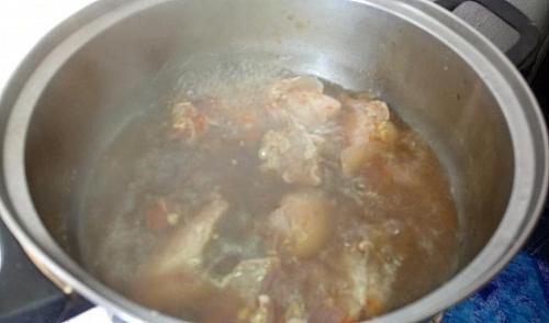 Boiling of beef for miyan kuka