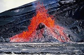 Lava erupting out to the surface of the crust through a narrow vent