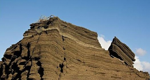 Welded Tuff, an example of extrusive igneous rock