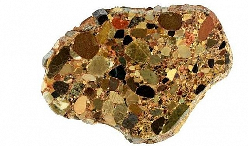 Conglomerate, a castic sedimentary rock