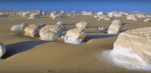 An example of wind erosion in a desert, the cone-shaped rocks are formed due to excessive wind erosion