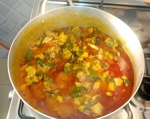 leave to cook for a while after water or chicken stock