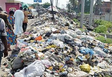 Picture of how land is polluted through the dumping of solid waste