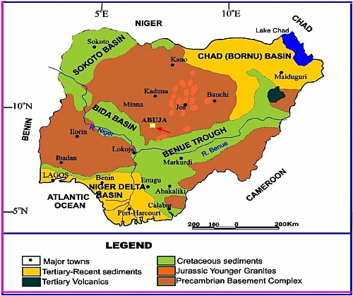The benue trough and economic importance map of nigeria showing the two types relief features uplands and lowlands ccuart Choice Image