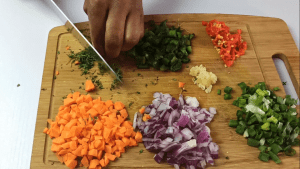 Chopped vegetables for making Jamaican beef patties