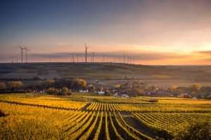 Agronomy in Agriculture shown as vast cultivated land with Wind Turbines in the background