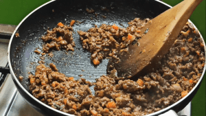 The Jamaican beef patty filling is ready
