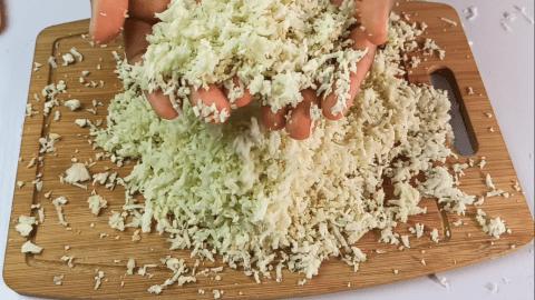 Riced Cauliflower using a hand grater