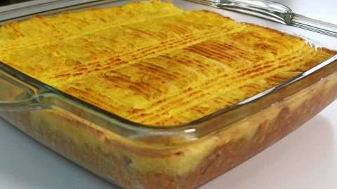 Baked shepherd's pie with crust that is crispy and brown