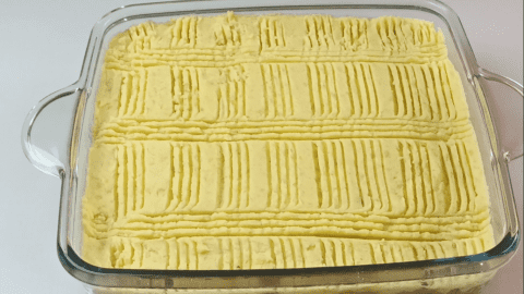 Make the design of choice over the pie crust of the shepherd's pie