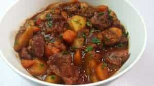 Hearty Irish stew with lamb and Guinness stout