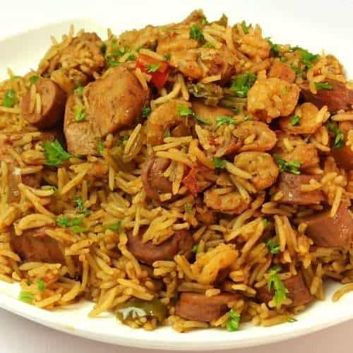 Jambalaya rice in a plate