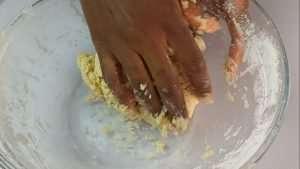 Mix the flour until you have a firm dough