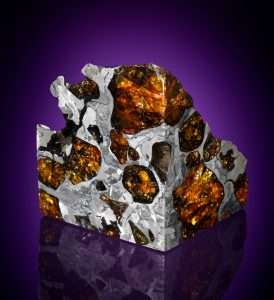 Picture of Pallasite meteorites contain iron-nickel metal and olivine