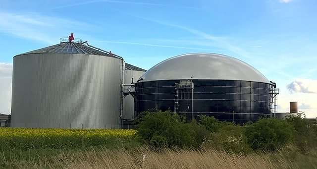 Biomass is converted to energy in a Biogas plant