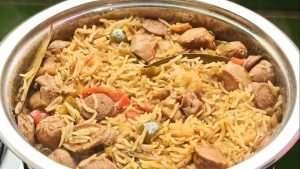 jambalaya rice in a pot