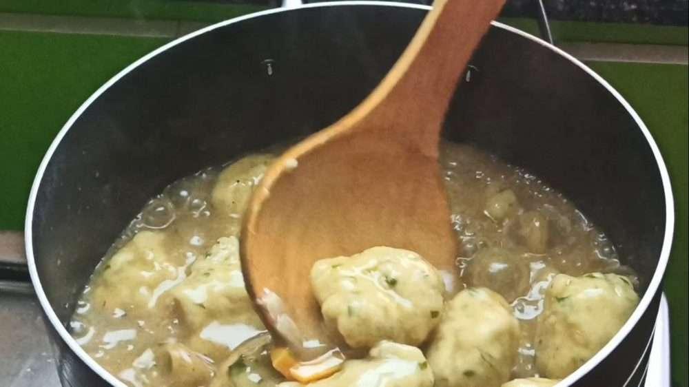 Cooking the dumpling dough