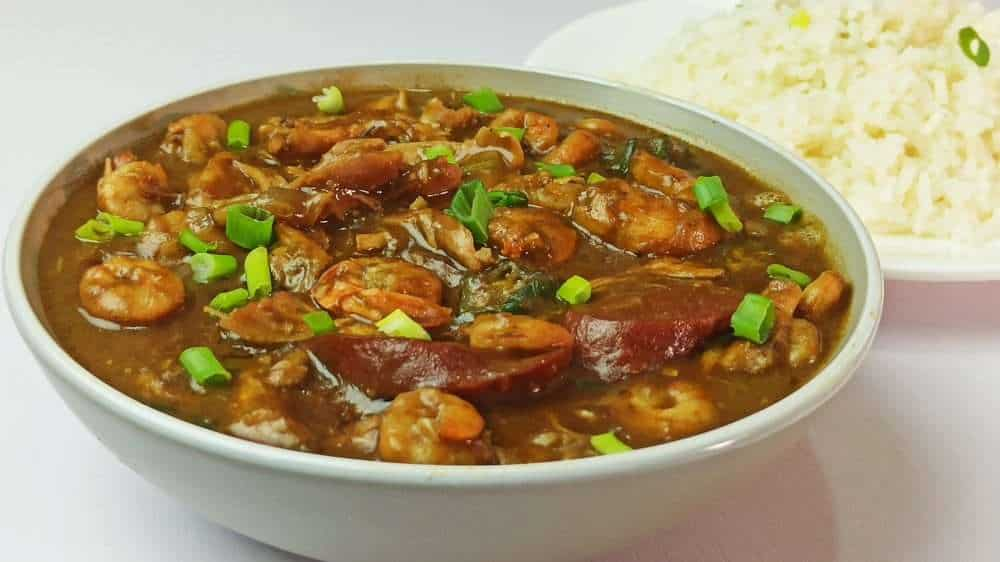Gumbo with shrimp, chicken and sausage
