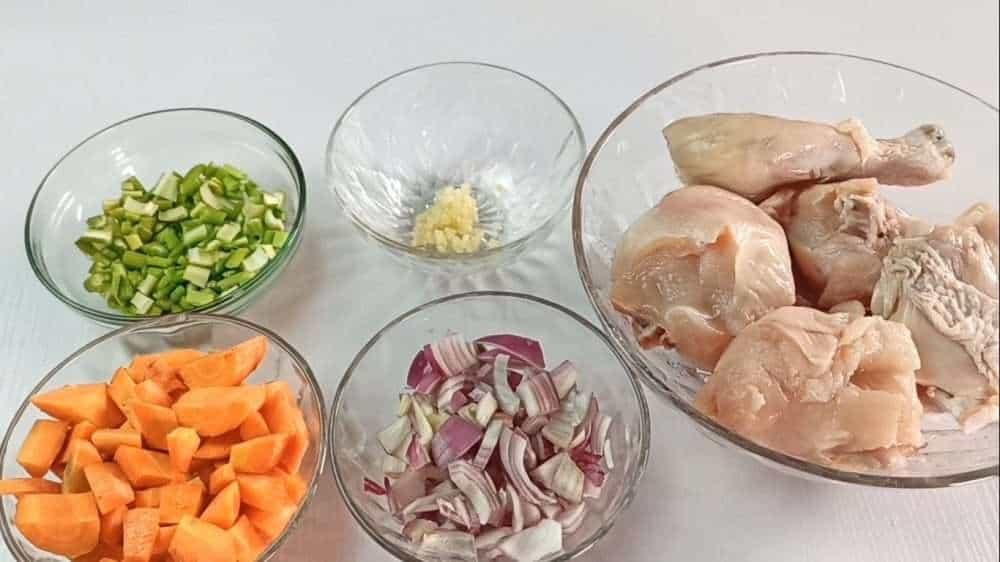 Homemade chicken and dumplings ingredients